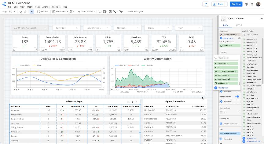 affiliate-conversions-in-data-studio-screenshot