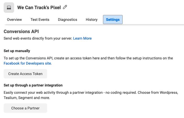 Facebook Pixel Conversion API Access Token
